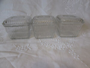 Set of 3 Vintage Cut Glass Refrigerator Dishes