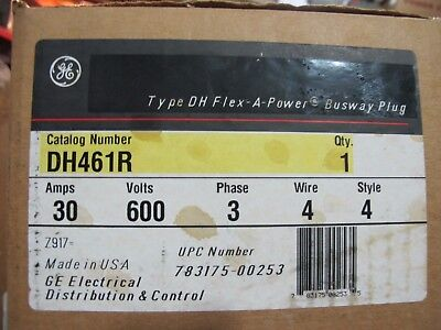Ge Dh461r 30 Amp 600 Volt 4 Wire Bus Plug- New In Box