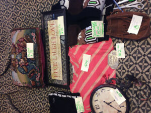 Misc things clock tool belt clothing picture purse etc
