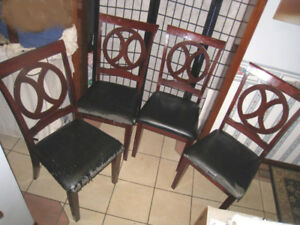 ASIS 4 Solid Wood Dining Chairs, need re-upholstery, frames OK