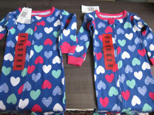 Sleepers, Baby Girls Carters, Size 12 Months, BNWT - $6.00 ea.