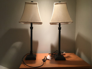 Matching side table lamps and shades