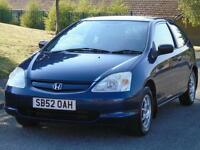 HONDA CIVIC 1.4i IMAGINE,3 OWNERS,LONG MOT,LOW TAX,LOW INSURANCE & CHEAP TO RUN