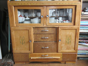 Antique Cabinet for display All original with decals Solid Wood