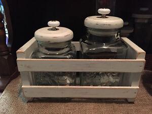 Set of 2 sugar & flor jars