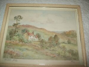 ORIGINAL ENGLISH WATERCOLOUR IN FRAME COUNTRY COTTAGE