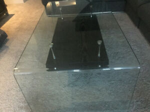 Coffee table with glass, wood shelf and metal