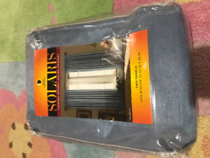 Blue thermal energy savings curtains 35-50 in x 95 in - set of 2