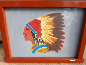 """H. McINNES - """"The Chief"""" Native Head Dress Painting"""