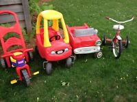 Kids cars and trikes