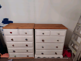 2 painted pine drawers