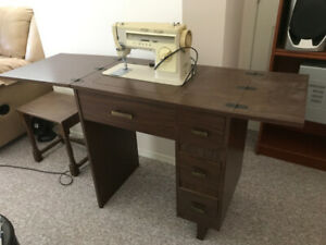 Singer Sewing Machine with Table & Chair