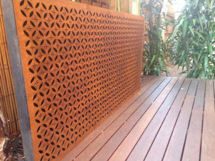 Metal laser cut rust Arabic feature wall panel privacy screen Malvern Stonnington Area Preview