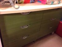 Great 6 drawer dresser - green 'stained' colour