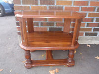 heavy solid wood end table with shelves, in exc cond