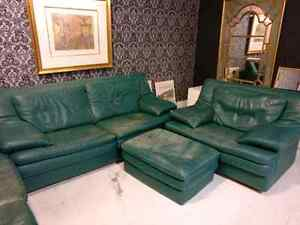 4-piece green leather living room set