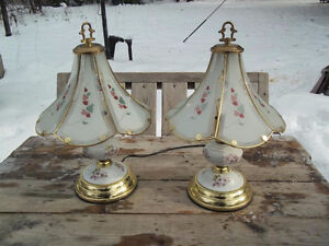 Excellent Condition:  Pair Of 3 Way Porcelain and Glass Lamps