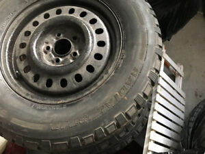 COMPLETE SET OF 4 WINTER TIRES ON 5 BOLT PATTERN STELL RIMS