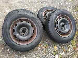 4 Brand New Winter Tires, Studded and on used Steel Rims