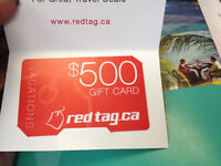 RED TAG VACATIONS GIFT CARD (NOT NEGOCIABLE) 300$ VALUE OF 500$