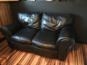 Bonded leather love seat and couch