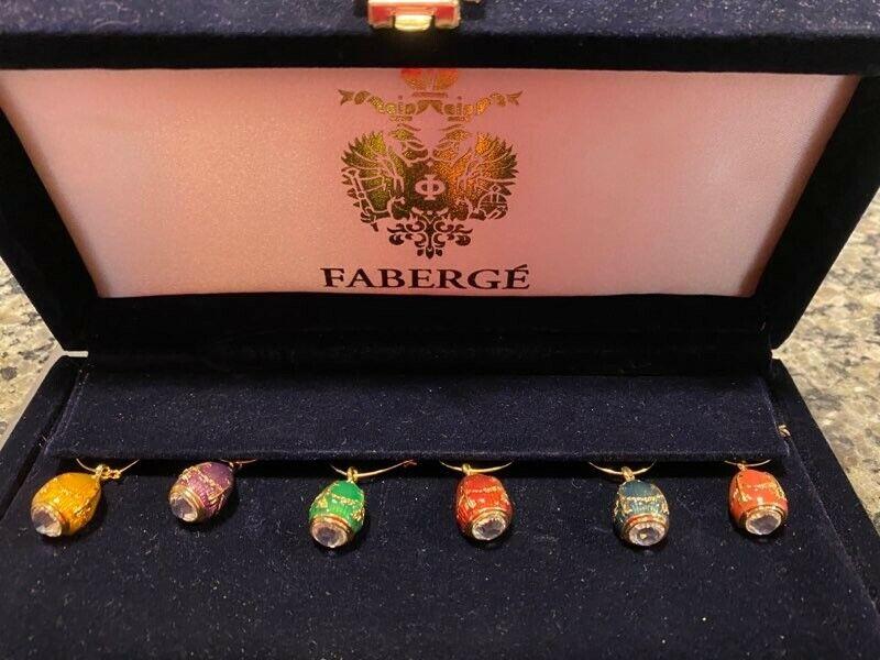 FABERGE Set of 6 Enamel Egg & Crystal Wine Glass Charms / Markers in Velvet Box