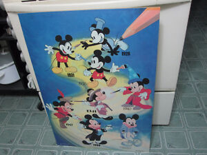 "Vintage 1988 Disney Mickey Mouse ""Then & Now"" Poster Picture"
