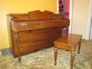 Apartment size Baldwin piano with matching storage bench