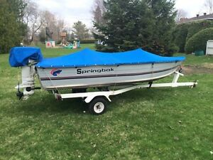 Springbok 14ft aluminum w/20 hp Johnson