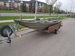14' Jon Boat with trailer for sale