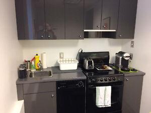 Armoires de cuisine  Ikea grises , poêle et lave-vaisselle