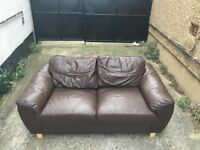 Brown leather sofa •• free delivery•• 40
