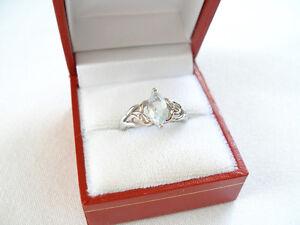 .80 Ct. Aquamarine Solitaire & Diamond  10k White Gold Ring