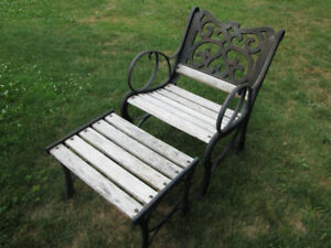 Wood/cast iron Bench with seperate Table/ Rest