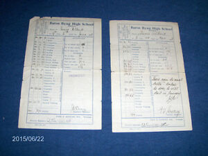 2 VINTAGE BARON BYNG HIGH SCHOOL REPORT CARDS-1928-I. ALBERT