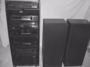Stereo System Mfg by KENWOOD c/w Glass Cabinet and Speakers