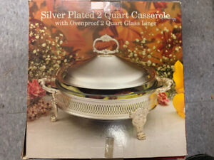 Silver-plated 2 quart Casserole with oven proof glass liner