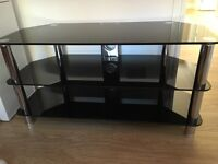 Glass TV corner stand BLACK