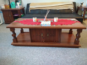 Wood Coffee table, 2 end tables, Loveseat  MOVING MUST SELL!
