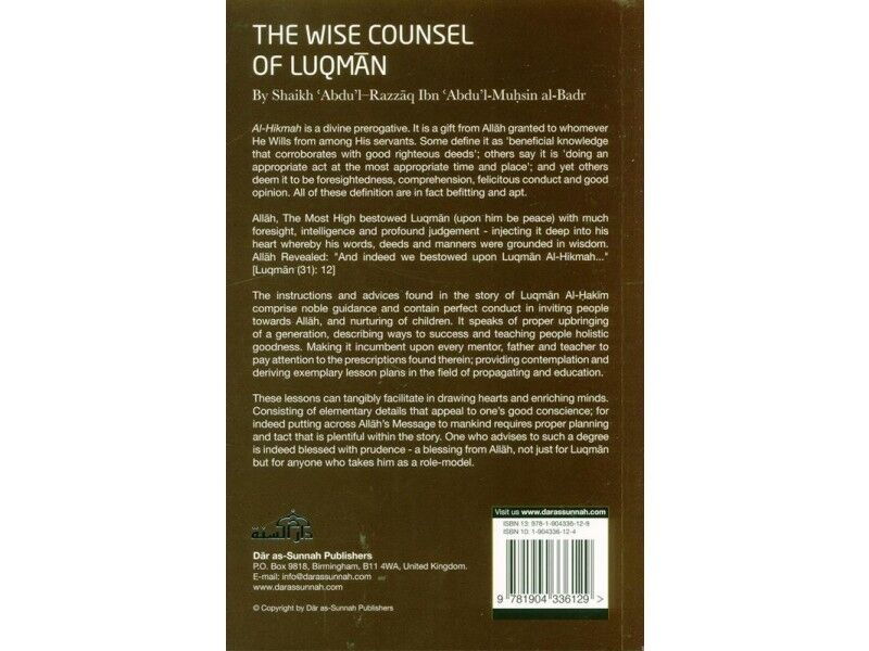 Details about The Wise Counsel of Luqman - Shaikh Abdul Razzaq (paperback)