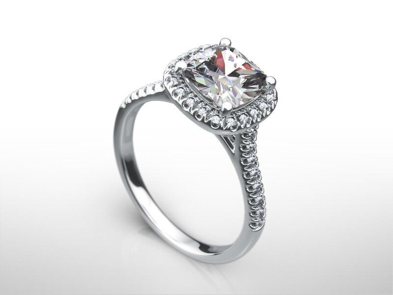 2.5 Carat Cushion  H/vs1  Diamond  Halo Engagement Ring 14k White Gold