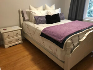 Queen Size Bed with two side tables in mint condition