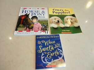 3 Books -Crazy For Puppies , Horse & Pony Book, When Santa Fell