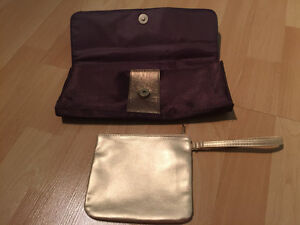 Brown clutch and gold makeup bag Cambridge Kitchener Area image 2