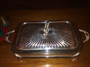 Square Casserole with Silver Holder and Cover
