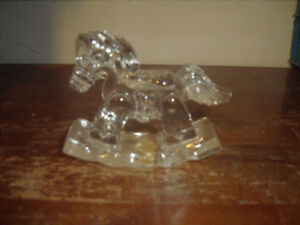 FULL-24-LEAD-CRYSTAL-GLASS-ROCKING-HORSE - JONAL BABY'S FIRST