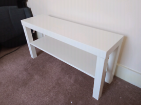White TV bench storage shelving unit shoe storage 45x26x90