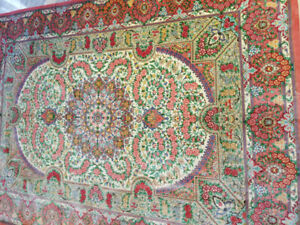 Hand knotted and Authentic Persian silk Ghom rug