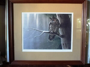 "Hand Signed Wildlife Lithograph by L. E. Robinson ""The Watcher"""
