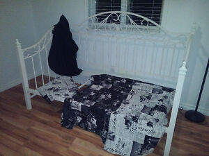 Duvet cover and sham with black fitted sheet.